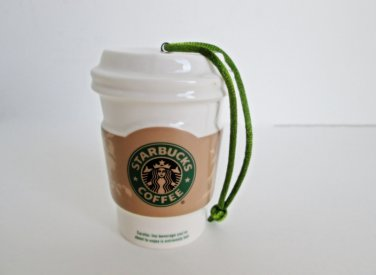 Starbucks Coffee, Take Out Cup, White Coffee Mug 2008 Holiday Christmas Ornament Miniature