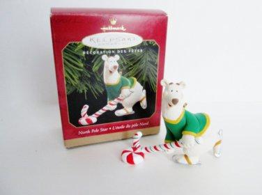North Pole Star Hallmark Christmas Ornament Hockey playing Polar Bear 1999 Winter Sports