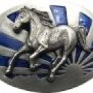 Blue Enameled Running Horse Buckle