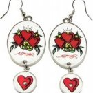 Ed Hardy Three Hearts Drop Clear Crystals Earrings, New