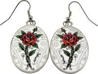 Ed Hardy Roses Oval Earrings, Brand New