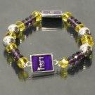 LSU Louisana State Tigers Glass Stretch Crystal Bracelet