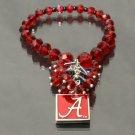 Alabama Crimson Tide Glass Beads Stretch Crystal Bracelet