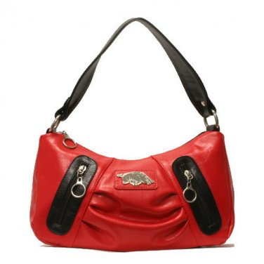 Arkansas Razorbacks PVC Impact Handbag with metal logo