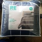 Room Essentials Black & Gray Stripes Queen Size 8 Piece Bedding Set