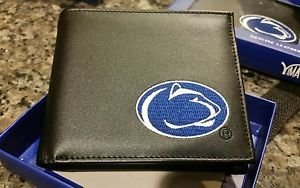 Penn State Nittany Lions Mens Black Leather Bi-fold Wallet