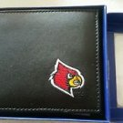 Louisville Cardinals Mens Black Leather Bi-fold Wallet