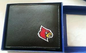 Louisville Cardinals Mens Black Leather Bi-fold Wallet