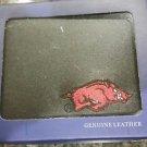 Arkansas Razorbacks Mens Black Leather Bi-fold Wallet