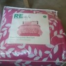Room Essentials 6 Piece Pink Vine Leaf Twin Size Comforter and Sheet Set