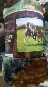 Horses Out in the Field American Heritage Woodland Plush Raschel Throw blanket