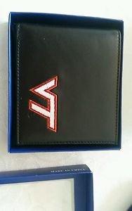 Virginia Tech Hokies Mens Black Leather Bi-fold Wallet