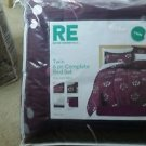 Room Essentials Purple Floral Twin 6 Piece Student College Dorm Bedding Set