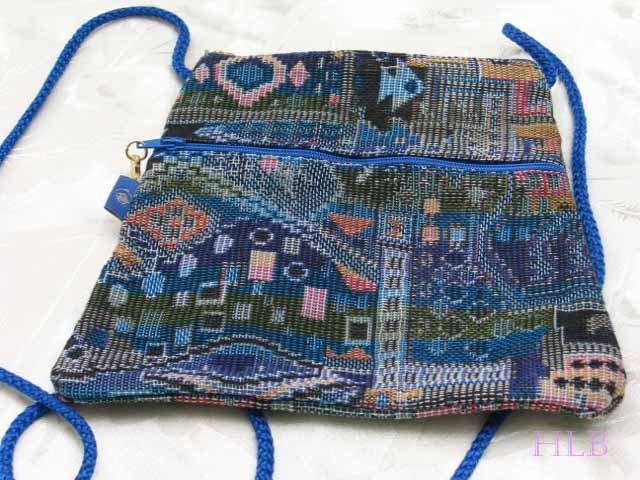 Triangle - Ethnic Blue  Pattern Bag Purse Handbag