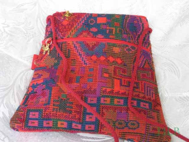 Triangle - Ethnic Red/Black  Pattern Bag Purse Handbag