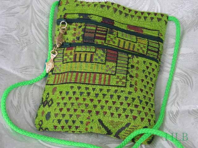 Square - Chenille Lime Green Purse Handbag Tote Sling Bag