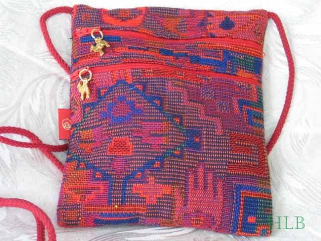 Square - Multi - Colored Red/Orange Purse Handbag Tote Sling Bag