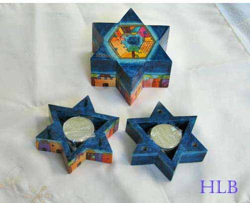 Candlesticks   Emanuel Wood Hand Painted Shabbat 'Star of David'