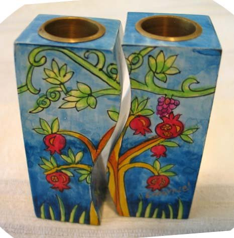 Shabbat Candlesticks  Emanuel's Wood Hand Painted Fitted 'Seven Species'