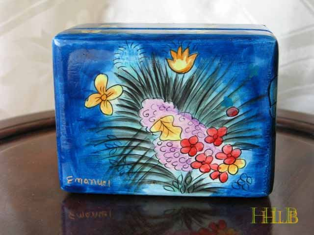 Jewelry Box   Emanuel Wood Hand Painted Small 'Floral Romance'