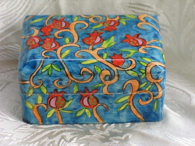 Jewelry Box   Emanuel  Wood Hand Painted  Small  'Pomegranates'