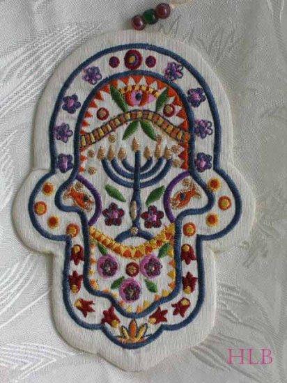 Hamsa - Yair Emanuel's  Embroidered Fabric Wall  'Symbolic'