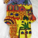 Hamsa - Yair Emanuel's  Glass Hand Painted  Large  'Oriental Jerusalem'