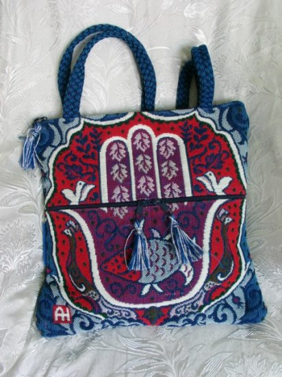 Hamsa Bag -  Red / Blue Hippy Shoulder Tote Bag