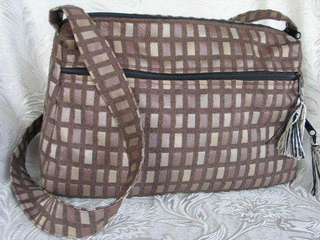 Nava -  Elegant Woven Brown Olive  Fabric 4 Pockets Shoulder Handbag