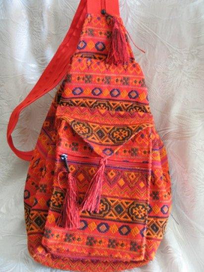 Backpack - Ethnic Fabric Orange / Multi-Color Woven Tote / Shoulder Bag