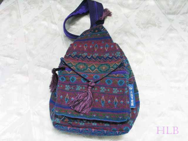 Backpack - Ethnic Fabric Purple / Multi-Color Woven Tote / Shoulder Bag