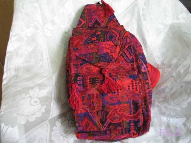 Backpack - Ethnic Fabric Red Orange / Multi-Color Woven Tote / Shoulder Bag