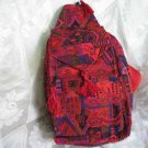 Backpack - Ethnic Fabric Red Orange / Multi-Color Woven Tote / Shoulder Bag