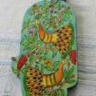 Wood Hamsa Emanuel Hand Painted Wall Decor  'Peacocks'