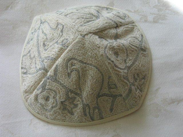 Kippa Hand Embroidered Emanuel Silver & White Dove of Peace -- YAE9