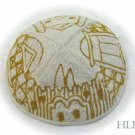 Kippa Hand Embroidered Emanuel Gold and White Jerusalem -- YAE7