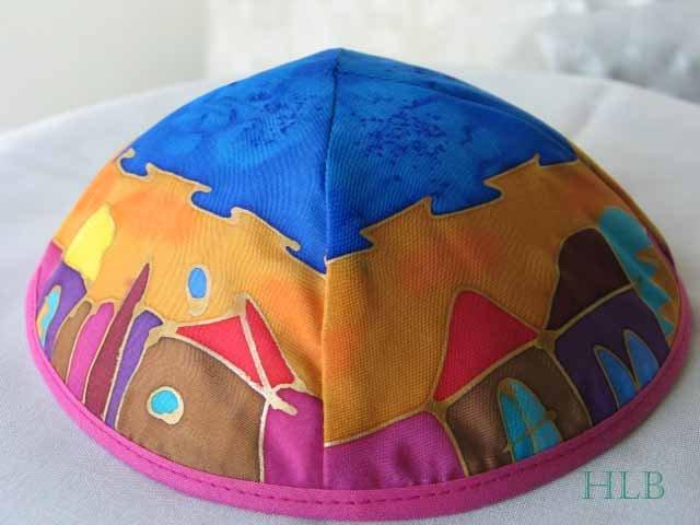 Kippa Emanuel Hand Painted Silk Multi-Color  -- YAS6