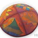 Kippa Emanuel Hand Painted Silk Multi-Color Orange -- YAS4