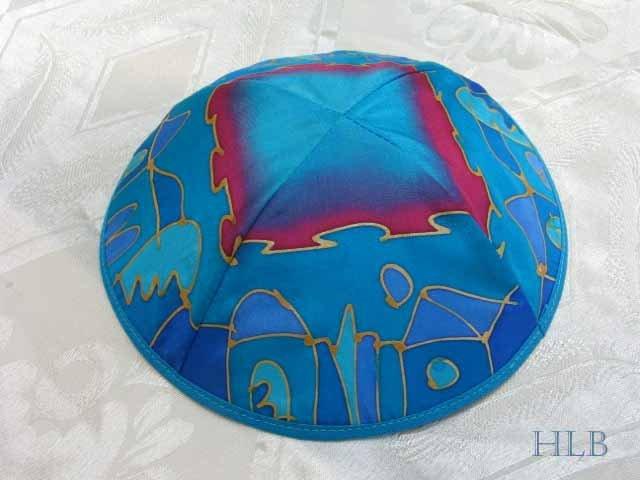 Kippa Emanuel Hand Painted Silk Multi-Color Blue -- YAS11