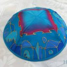 Kippa Emanuel Hand Painted Silk Multi-Color Blue -- YAS11
