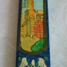 Mezuzah Emanuel Wood Small  Hand Painted Jerusalem Towers-- MZS5
