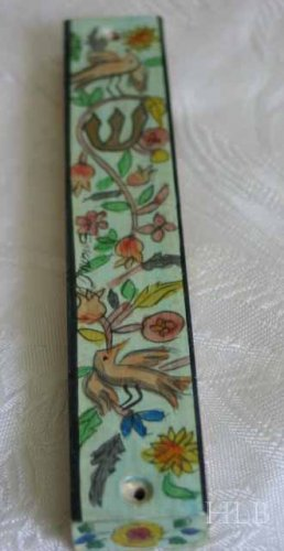 Mezuzah Emanuel Wood Small  Hand Painted Birds -- MZS6