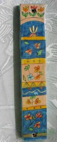 Mezuzah Emanuel Wood Large  Hand Painted Whimsical Flowers -- MZL19