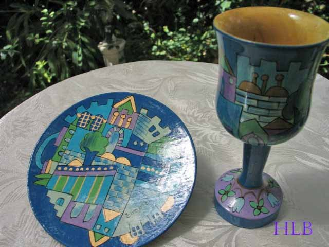 Kiddush Cup Emanuel Hand Painted Wood Blue Jerusalem -- CU10