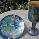 Kiddush Cup Emanuel Hand Painted Wood Blue Jerusalem -- CU10