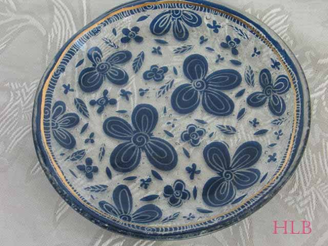Round Dish Andreas Meyer Fused Decorative Glass - Blue Embroidery
