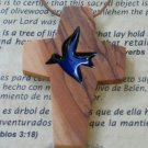 Olive Wood Cross Pendant With Acrylic Dove Inlay