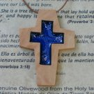6 Olive Wood Cross Pendants With Acrylic Cross Inlay