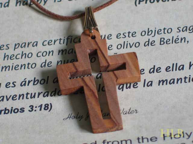 Olive Wood Cut Out Cross Pendant Necklace