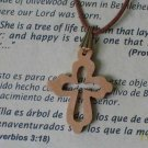Olive Wood Budded Cross Pendant Necklace